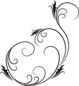 Floral Curl Vector Element