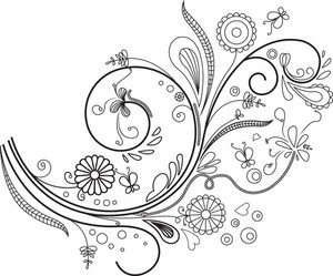 Floral Curl Vector Element