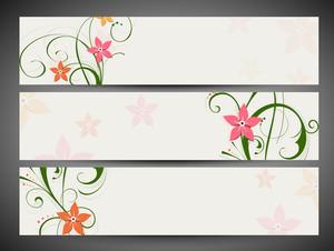 Floral Decorated Website Header And Banner Set