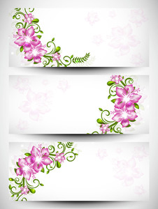 Floral Decorated Website Header And Banner Set