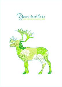 Floral Deer Card.