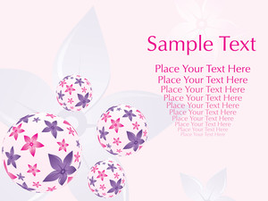 Floral Design Ball On Grey Flower Background