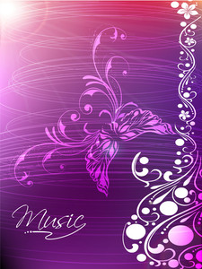 Floral design decorated guitar on shiny purple background.