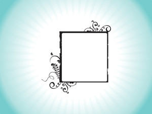 Floral Design Squire Frame Isolated On Sky Blue Background