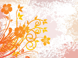 Floral Design With Grunge Background