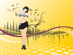 Floral Disco Background With Lady Dancer Having Ipot