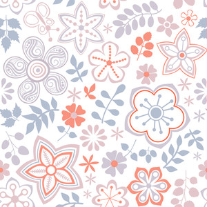 Floral Endless Pattern In Pink. Ornate Floral Seamless Texture