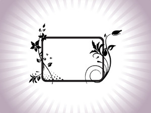 Floral Frame With Leaf Elements In Purple