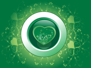 Floral Green Background With Heart