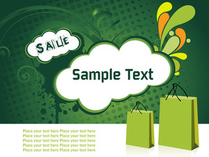 Floral Green Vector Illustration With Shopping Bags