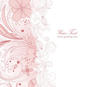 Floral Greeting Card Vector Illustration