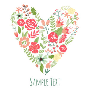 Floral Heart Card. Cute Retro Flowers Arranged Un A Shape Of The Heart