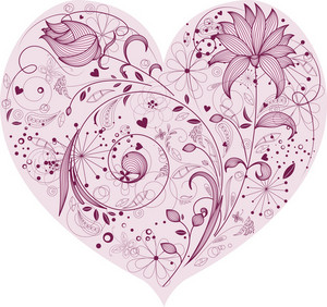 Floral Heart Vector Element