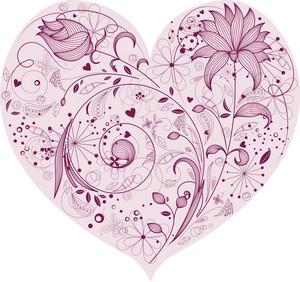 Floral Heart Vector Element