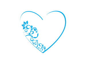 Floral In Heart Frame Theme In Blue