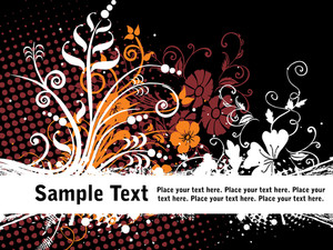 Floral Pattern With Dotted Background