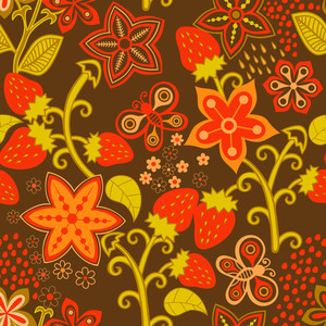 Floral Seamless Texture With A Strawberry. Bright Background