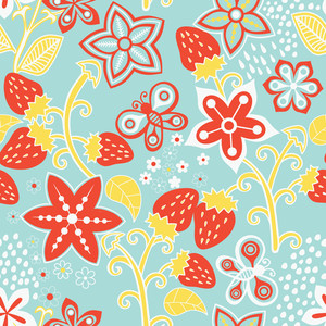 Floral Seamless Texture With A Strawberry