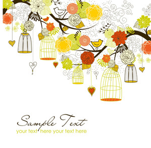 Floral Summer Background. Birds Out Of Their Cages Concept Vector