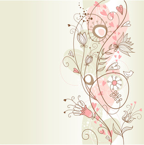 Floral Summer Background With Ta Bird In It
