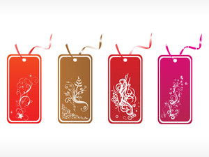 Floral Tags In Red Gray And Pink Vector