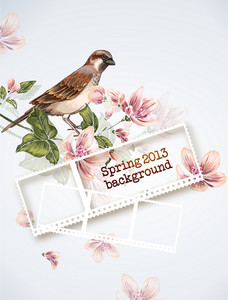 Floral Vector Background Illustration With Bird