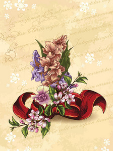 Floral Vector Background Illustration With Bow And  Floral Bouquet