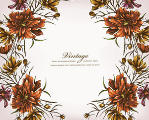 Floral Vector Background Illustration With Floral Frame