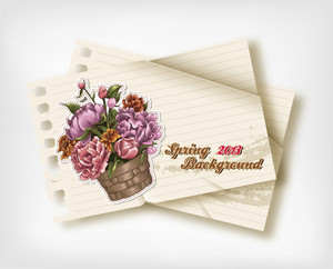 Floral Vector Background Illustration With Paper Torn
