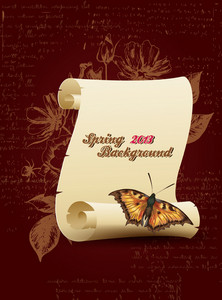Floral Vector Background Illustration With Scroll And Butterflies