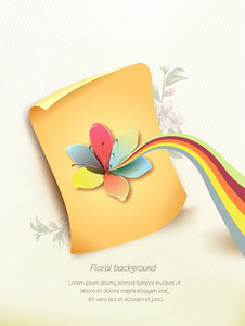 Floral Vector Background Illustration With Scroll,spring Flower And Rainbow