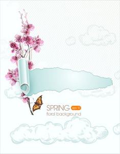 Floral Vector Background Illustration With Torn Paper And Spring Flowers