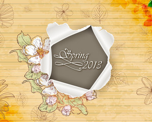 Floral Vector Background Illustration With Torn Paper