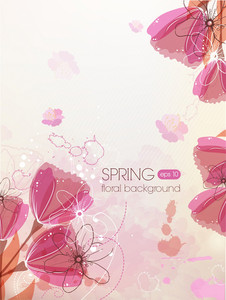 Floral Vector Background Illustration With Tulip
