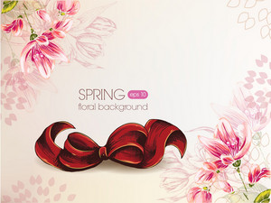 Floral Vector Background With Bow