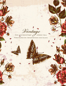 Floral Vector Background With Butterflie