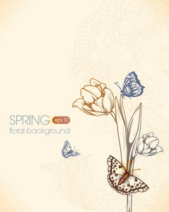 Floral Vector Background With Butterflies And Tulip