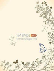 Floral Vector Background With Floral Elements And Butterflies