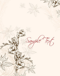Floral Vector Background With Freesia