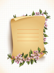 Floral Vector Background With Scroll
