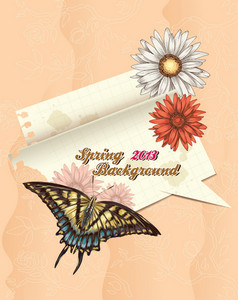 Floral Vector Background With Torn Paper