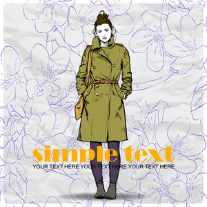 Floral Vector Card With Pretty Fashion Girl.