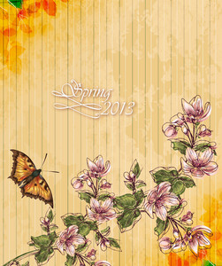 Floral Vector Illustration With Butterfly And Cherry Branches