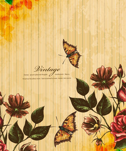 Floral Vector Illustration With Butterfly