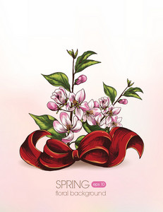 Floral Vector Illustration With Cherry Branches And Bow