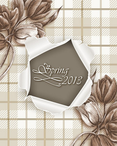 Floral Vector Illustration With Spring Flowers And Torn Paper