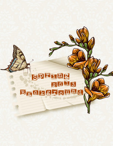 Floral Vector Illustration With Spring Flowers, Butterfly And Torn Paper