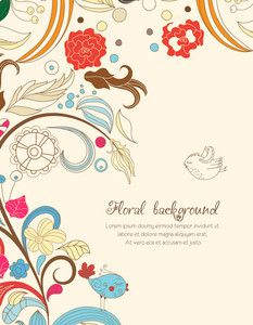Floral Vector Illustration With Spring Flowers