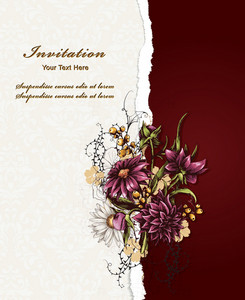 Floral Vector Illustration With Torn Paper