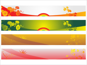 Floral Vector Web 2.0 Banner Set 1